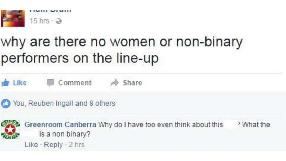 LOCAL BOOKER SPARKS OUTRAGE OVER ALL MALE ANU GIG