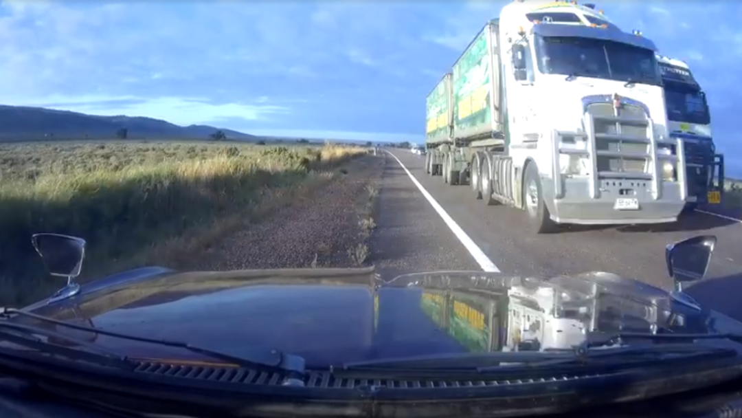 Truck Forces Car Off Road In Scary Near-Miss