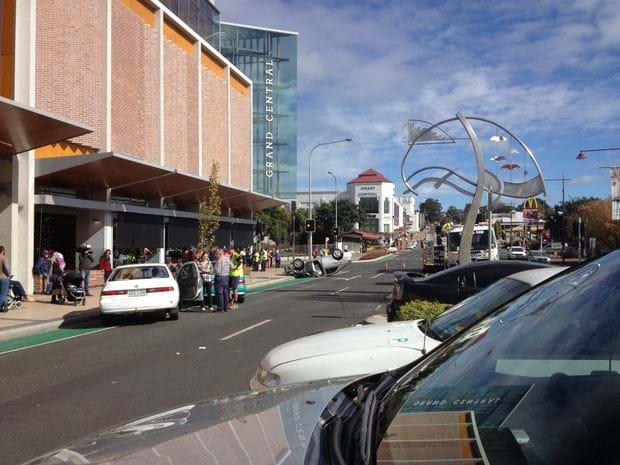 Article heading image for Car Flips on Margaret Street outside Grand Central