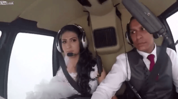 Horrific moment bride's helicopter crashes