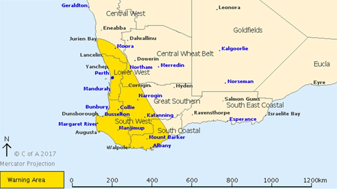 Severe Weather Warning Issued For Perth Over Damaging Winds