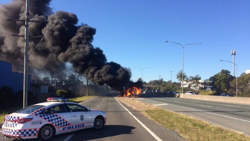 Evacuations underway, M1 closed after tanker catches fire