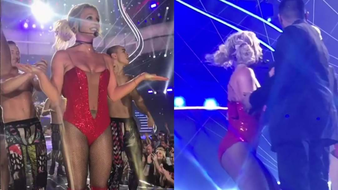 "Britney Spears' Safety Scare As Man Runs On Stage: ""He's Got A Gun?"""