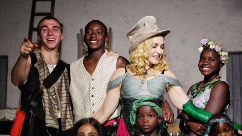 Madonna and her six children, meeting for the first time in photo