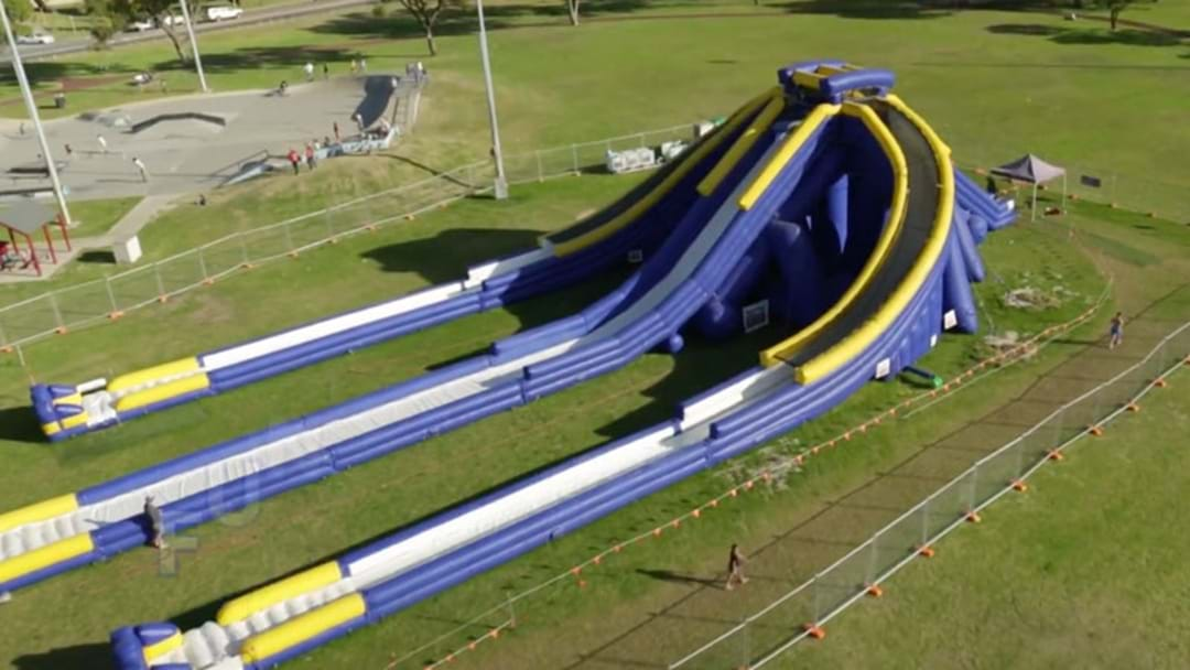 The World's LARGEST Inflatable Water Slide Has Come To Australia!