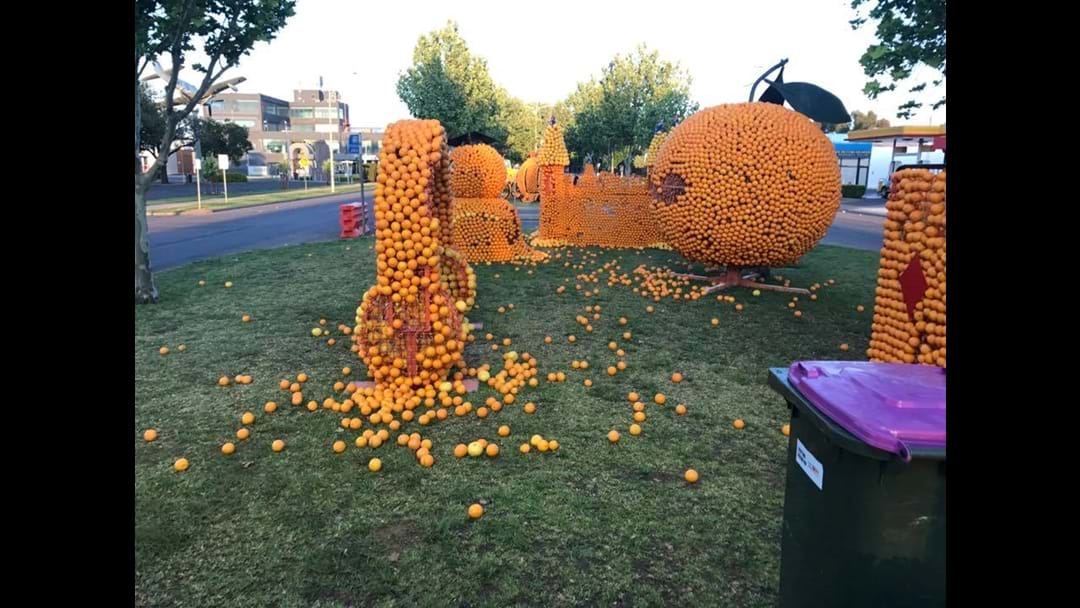 Devastating Damage To The Real Juice Company Citrus Sculptures