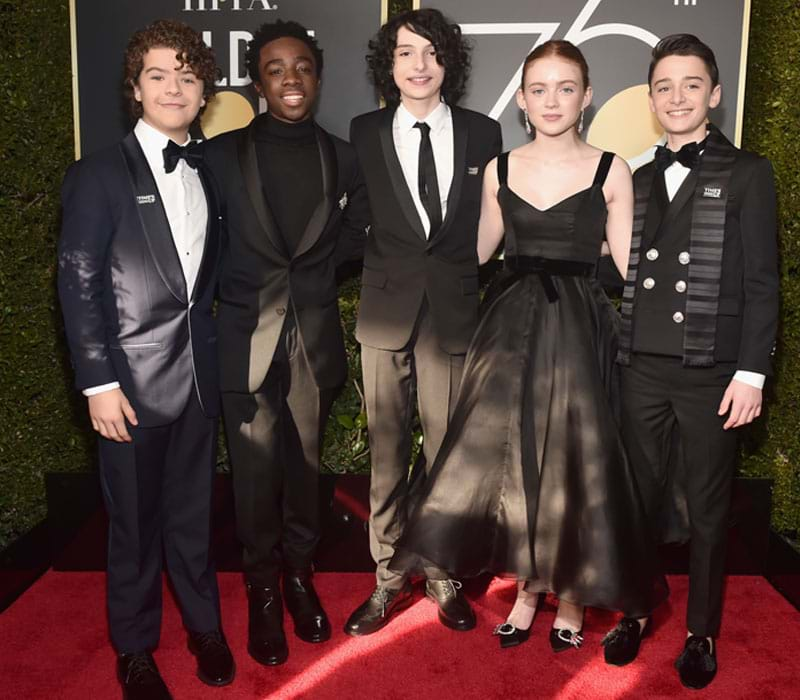 The Stranger Things kids at the 2018 Golden Globes