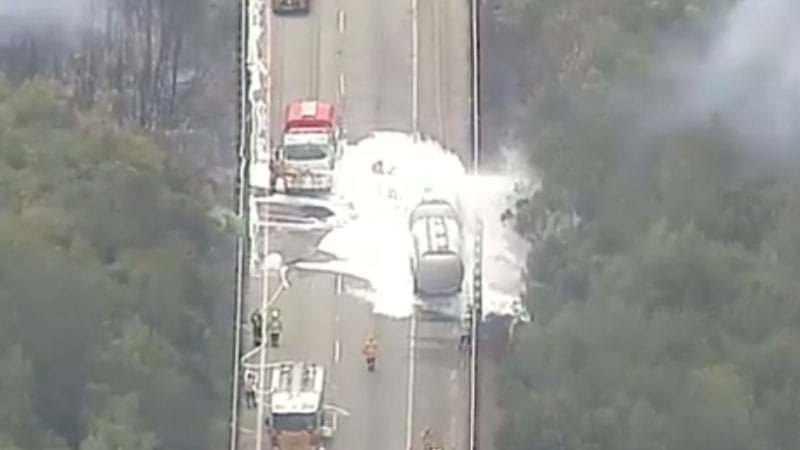 M1 remains closed after truck crash and fire in Cooranbong