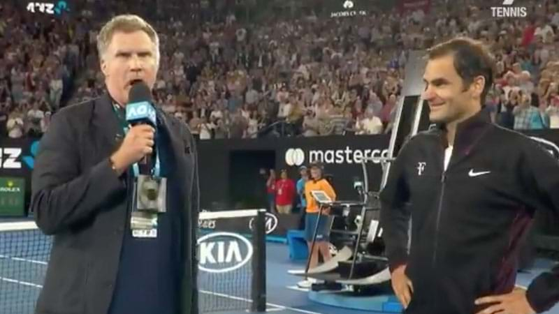 Will Ferrell Asks Roger Federer Bizarre Questions As Ron Burgundy