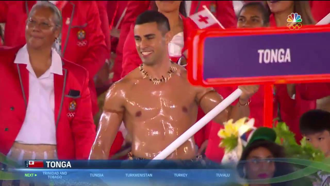 It's not too cold for the shirtless Tongan flagbearer