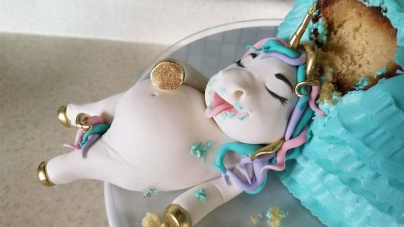 Article heading image for Fat Unicorn Cakes Are A Thing Now & We've Never Seen A More Relatable Cake!
