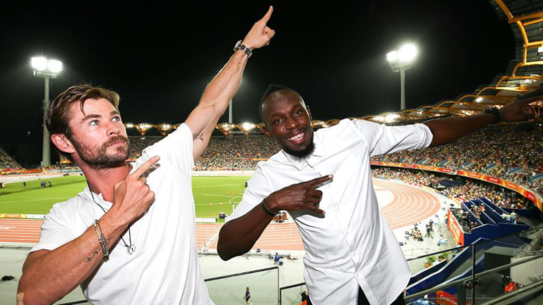 Hemsworth Starstruck By Bolt At Carrara Stadium
