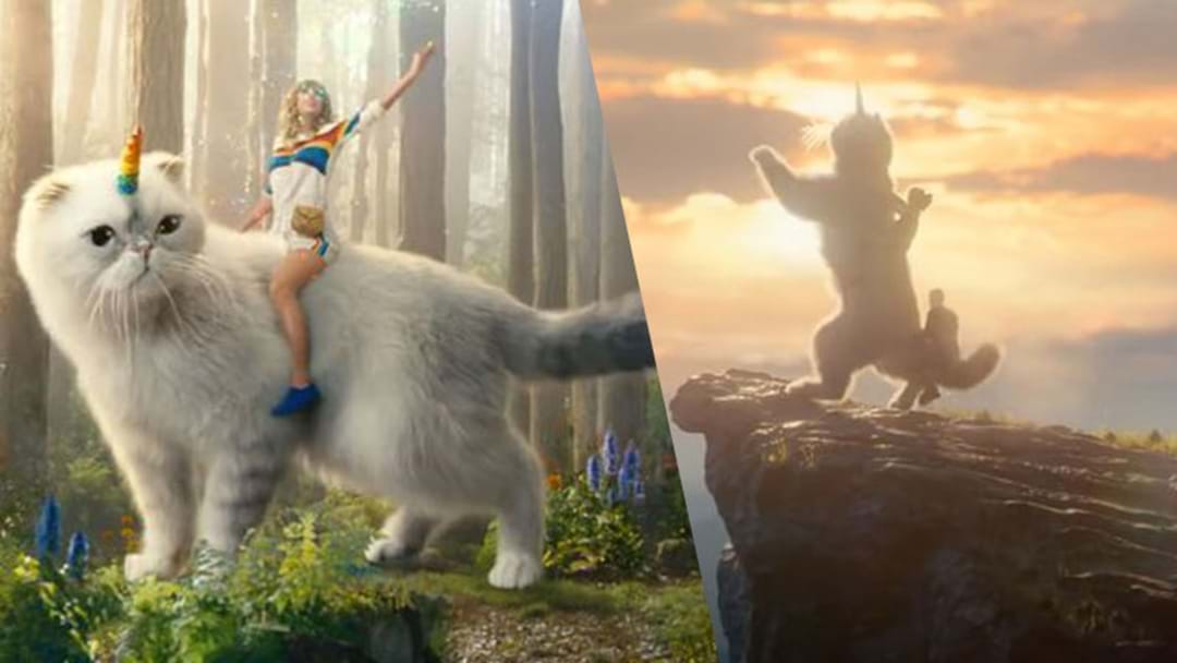 WATCH: Taylor Swift Riding A Giant 'Cat Unicorn' Has Us Trippin'