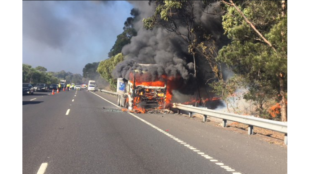 Truckie Escapes Fiery M1 Crash