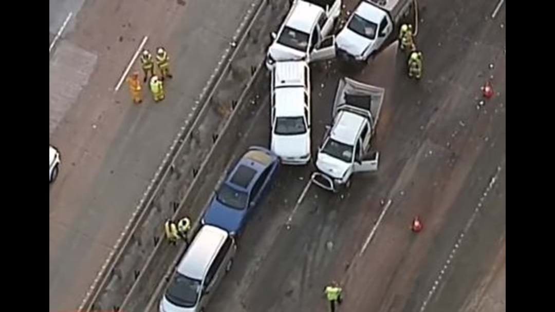 Pedestrian May Have Caused Ten-Car Pile Up