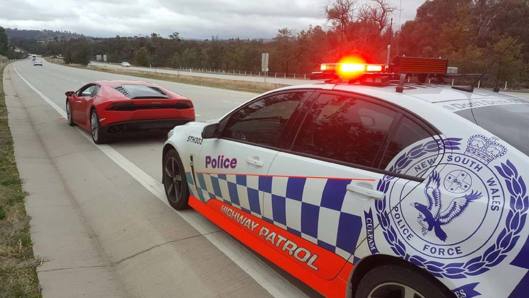 Lamborghini stopped twice on the Hume Highway