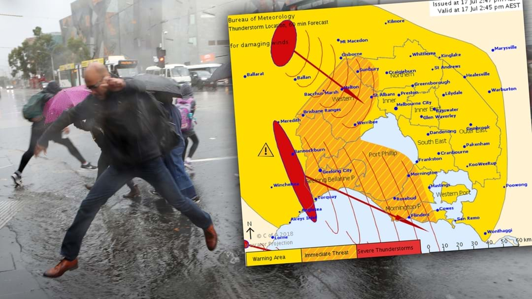 Severe Thunderstorms, Rain and Possible Hail To Hit Melbourne At Around 4PM
