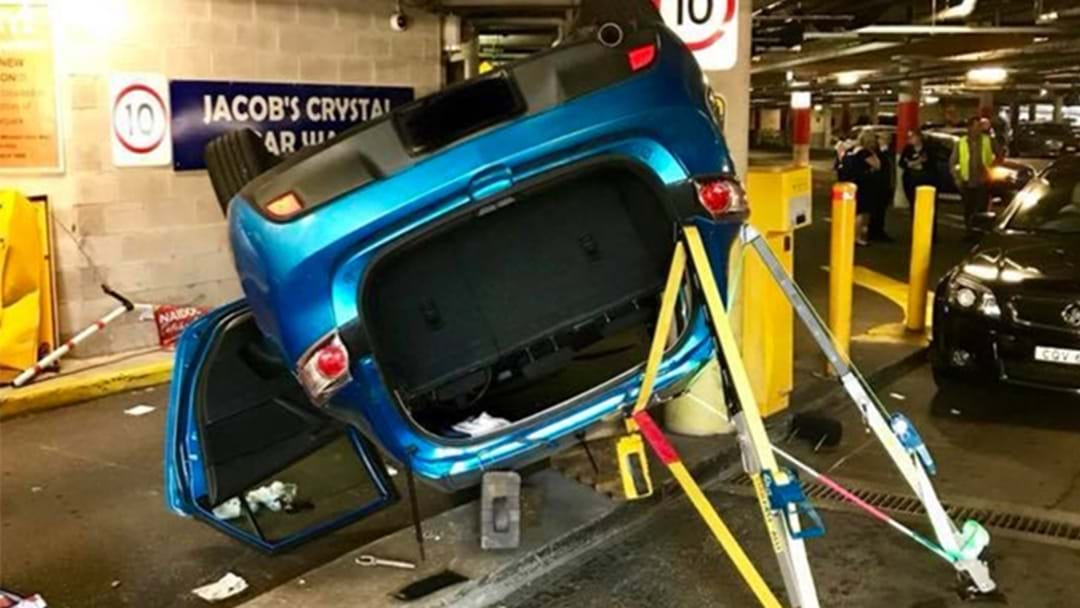 Seemingly-Impossible Car Flip In Sydney Carpark Today