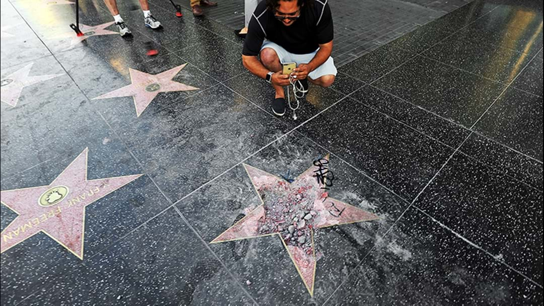 Donald Trump's Star On Hollywood Walk Of Fame Smashed With Pickaxe
