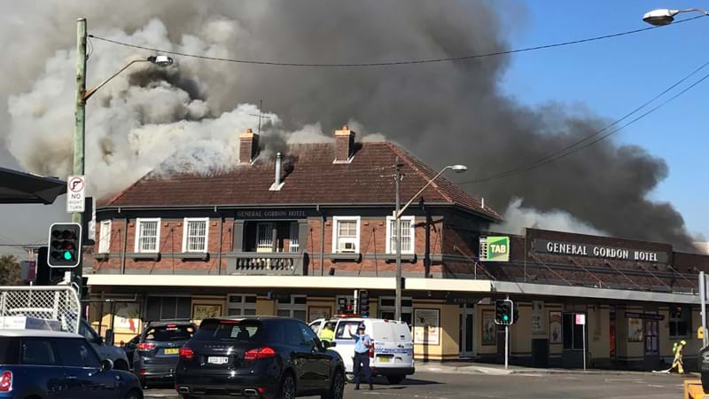 Article heading image for Roof Of The General Gordon Hotel Collapses As Building Goes Up In Smoke