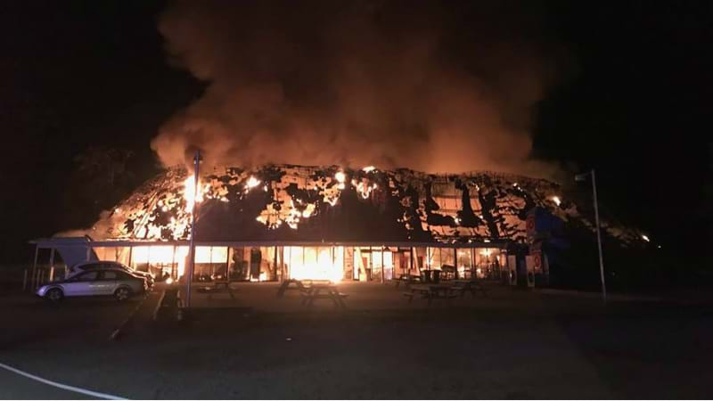 Article heading image for WATCH: The Rock Roadhouse On Fire