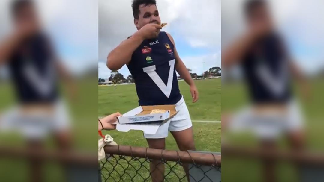 South West Footballer Takes Well Earned Pizza Break