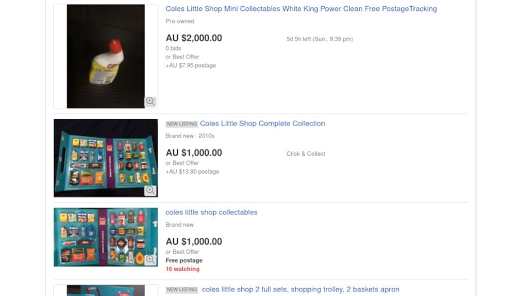 Coles 'Little Shop' Items Selling For Thousands On eBay