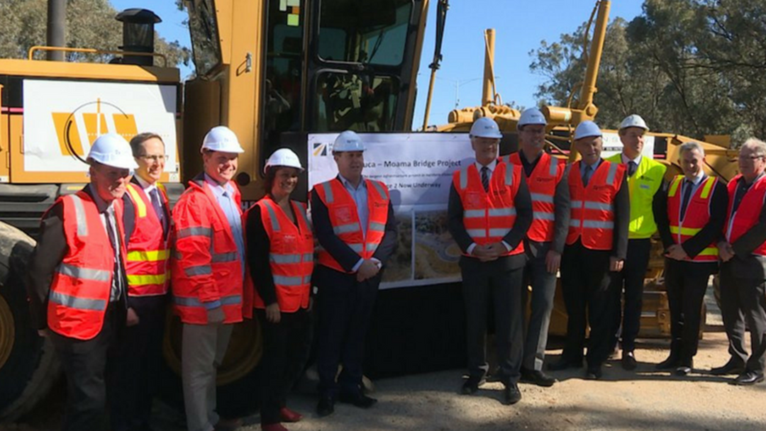 Damian Drum MP Turned First Sod On Stage 2 Of Echuca-Moama Bridge Project Yesterday