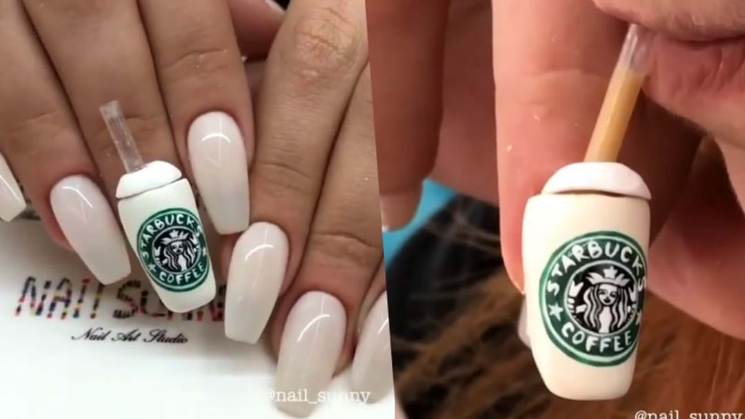 Starbucks Nails Exist & You Can Actually Drink From Them