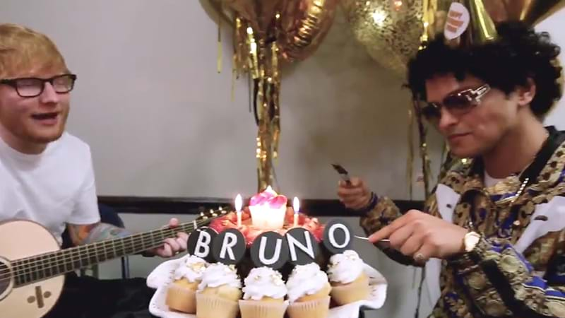 Ed Sheeran sings during Bruno Mars' birthday celebration - CBBC Newsround