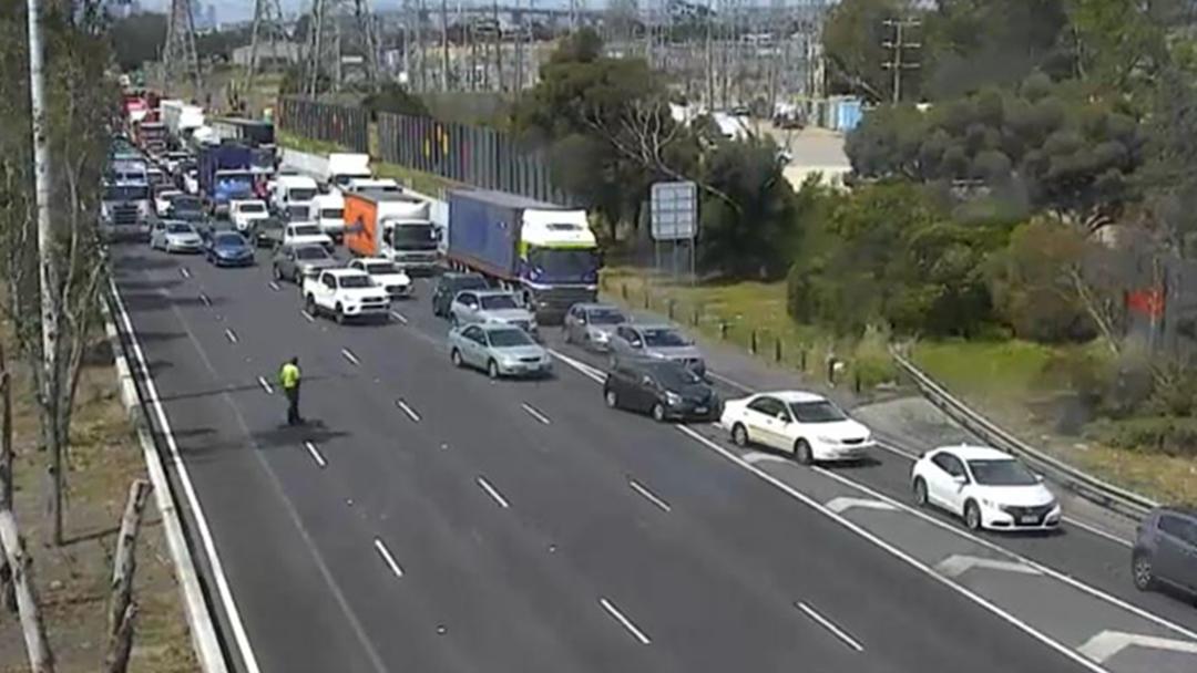 Traffic At A Standstill On West Gate Freeway Following Multi-Car Smash