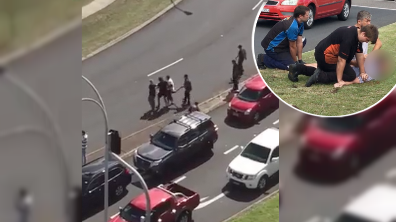 Article heading image for WATCH: Brave Onlookers Tackle Man Attacking Drivers in Charlestown